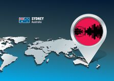 Map pin with Sydney skyline Stock Photos