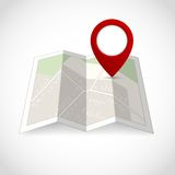 Map with pin symbol Royalty Free Stock Images