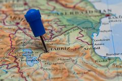 Map with pin in - of Tabriz, Aserbajdsjan Royalty Free Stock Images
