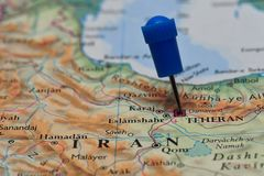 Map with pin in - of Teheran, Iran Stock Photography