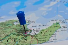 Map with pin in - of Tunis Royalty Free Stock Images