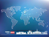 Map pin with Vienna skyline Royalty Free Stock Images