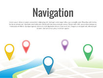 Map with a pin  on white. Illustration of Map with a pin  on white Stock Photos