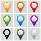 Map pins. Vector map pins in color Stock Photo