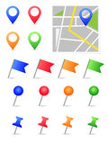 Map pins. Colorful set on white vector illustration