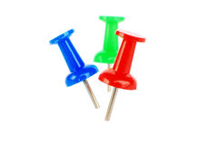 Map-pins. In red, blue and green isolated on white royalty free stock photos
