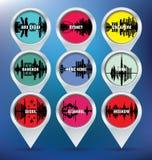 Map pins with Abu Dhabi, Sydney, Singapore, Bangko Stock Photo