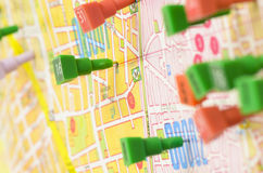 Map Pins. City map filled with pins Royalty Free Stock Images