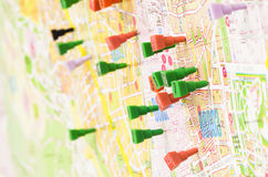 Map Pins. City map filled with pins Royalty Free Stock Image