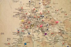 Map with pins Royalty Free Stock Photos