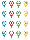 Map pins with icons Stock Image