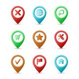 Map pins with icons Royalty Free Stock Photos
