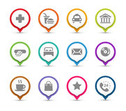 Map Pins with icons Royalty Free Stock Image