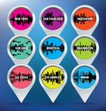Map pins with New York, San Francisco, Vancouver,. Puerto Rico, Montreal, Washington, Las Vegas, Los Angeles and Miami -  illustration Stock Image