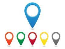 Map pins set. Set of colorful map pins royalty free illustration