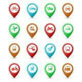 Map pins with Transport icons. This is file of EPS10 format Royalty Free Stock Photo