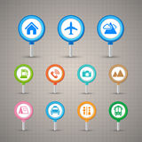 Map Pins with Transportation icons set Royalty Free Stock Image