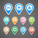 Map pins travel icons set Stock Image