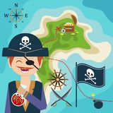 Map with a pirate and treasure island. Child Game. Help the find treasures. Map with a pirate and a map of treasure island. Child Game. Help the pirate find Royalty Free Stock Image