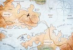 Map of pirate treasure island. Nautical map of pirate treasure island royalty free stock images