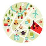 Map with places icons. Vector map with places icons. Trees, houses and roads Royalty Free Stock Image