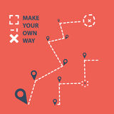 Map point. Make your own way from start to finish Royalty Free Stock Photos