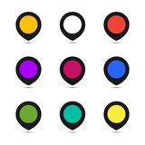 Map point set icons. Vector coloful illustrations Royalty Free Stock Photo