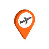 Map Pointer with Airplane symbol. Flat Isometric Icon or Logo. Stock Images