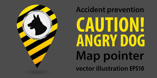 Map pointer. Be aware of dogs. Safety information. Industrial design. Vector illustrations. Royalty Free Stock Images