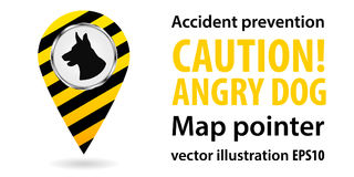 Map pointer. Be aware of dogs. Safety information. Industrial design. Vector illustrations. Royalty Free Stock Photo