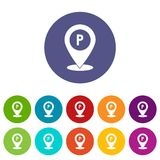 Map pointer with car parking sign set icons Stock Photography