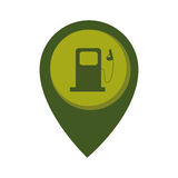 Map pointer with circle interior with fuel station Royalty Free Stock Photo