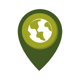 Map pointer with circle interior with planet earth Royalty Free Stock Photography