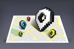 Map pointer cursor icon with city map  illustratio Royalty Free Stock Photo