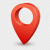 Map pointer 3d pin. Pointer red pin marker for travel place. Location symbol vector isolated on transparent background royalty free illustration