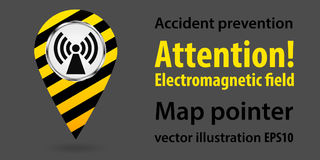 Map pointer. Danger Electromagnetic field. Safety information. Industrial design. Vector illustrations. Map pointer. Danger Electromagnetic field. Safety Stock Photo