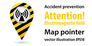 Map pointer. Danger Electromagnetic field. Safety information. Industrial design. Vector illustrations. Map pointer. Danger Electromagnetic field. Safety Stock Images
