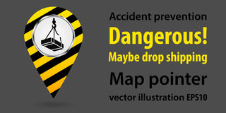 Map pointer. Dangerous maybe drop shipping. Safety information. Industrial design. Vector illustration. vector illustration