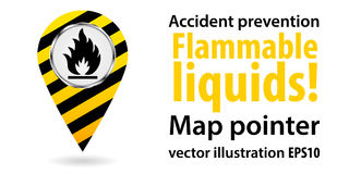 Map pointer. Flammable liquids. Safety information. Industrial design. Vector illustrations. Map pointer. Flammable liquids. Safety information. Industrial Stock Photography