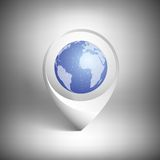 Map pointer with globe of world. White icon Royalty Free Stock Images