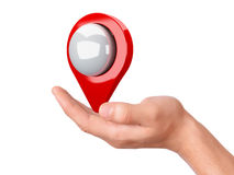 Map pointer in the hand on white background Royalty Free Stock Photos