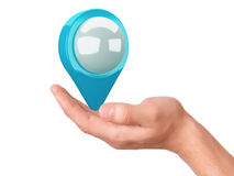 Map pointer in the hand on white background Royalty Free Stock Images