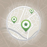 Map pointer with heart icon. Vector illustration Stock Photos