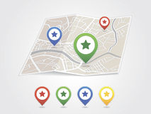 Map pointer with heart icon Stock Photo