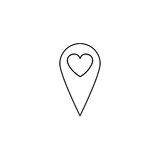 Map pointer with heart line icon Stock Images