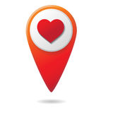 Map pointer with heart sign icons,  illustration. Flat design style Stock Photo