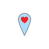 Map pointer with heart solid icon Stock Photo