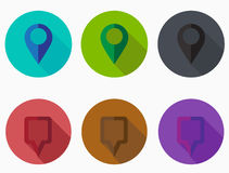 Map Pointer Icon. Location marker symbol. Location icon. Long shadows. Stock Photography