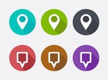 Map Pointer Icon. Location marker symbol. Long shadows Stock Photo