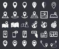 Map pointer icon set, gps location navigation marker Royalty Free Stock Photo